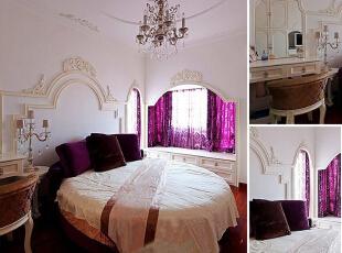 热衷于飘窗的房主在主卧中也作了拱形门飘窗设计,米白色系与魅惑的紫色系融合,使这间卧室显得浪漫优雅又充满温馨氛围。,150平,15万,混搭,三居,