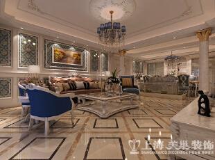 正商铂钻300平方复式装修样板间效果图-客厅,300平,35万,小资,复式,