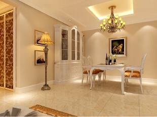 京贸国际公寓129平简欧三居室-餐厅做了四方吊顶,显得更加有层次感!,129平,10万,欧式,三居,餐厅,现代,简约,白色,黄色,