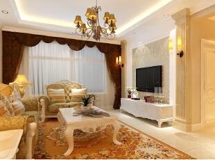 京贸国际公寓129平简欧三居室-客厅出了两套方案,罗马柱与室内色调融合为一个整体!,129平,10万,欧式,三居,客厅,现代,简约,白色,黄色,