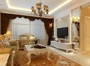 京贸国际公寓129平简欧三居室-客厅方案2,用镜面增加室内空间!,129平,10万,欧式,三居,客厅,现代,简约,白色,黄色,