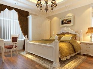 京贸国际公寓129平简欧三居室-卧室,129平,10万,欧式,三居,卧室,现代,简约,白色,黄色,