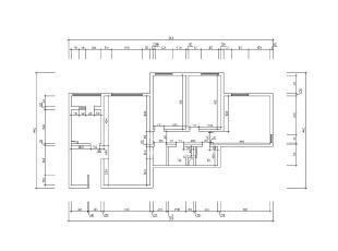 京贸国际公寓129平简欧三居室-原始户型图,129平,10万,欧式,三居,