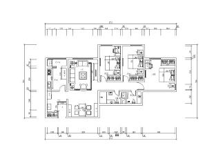 京贸国际公寓129平简欧三居室-平面布置图,129平,10万,欧式,三居,