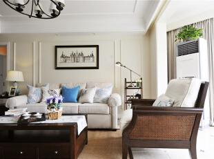 ,124平,10万,美式,三居,客厅,白色,