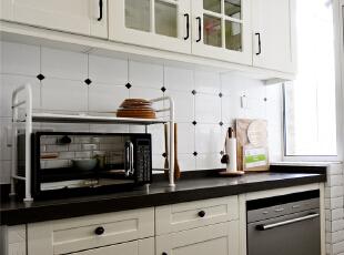 ,124平,10万,美式,三居,厨房,黑白,