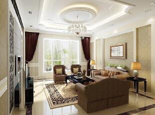 客厅 简单而不失俗套 设计理念:灯光与壁纸的映衬使空间更加协调。 设计亮点:地面色调以深色调的地板为主使得地面跟沉稳,墙面以白色墙漆为主,加上简单的顶角线更适合老人需求简单舒适不繁琐,116平,9万,欧式,两居,