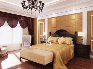 卧室 温馨高雅之卧室 设计理念:时尚前卫舒适温馨。 设计亮点:整个卧室通铺暖色调壁纸,简欧式床时尚更符合睡眠的需求,通透的阳台与卧室融为一体,使休闲与整体与一身,给了主人更好的休闲空间,背景墙面欧式造型的运用使整个空间一个亮点的增加,整个空间更统一协调。,116平,9万,欧式,两居,