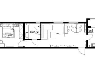 宏光协和城邦小区美式田园装修设计-户型图,76平,5万,田园,两居,