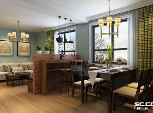 餐厅借用天然原始的电视背景墙用原木定制吧台。,76平,5万,田园,两居,