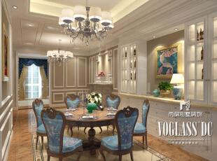 浅黄色壁纸与蓝色餐椅的搭配,浪漫不适温馨之感。,350平,200万,新古典,别墅,