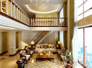 蓝堡湾复式四室两厅装修样板间-客厅沙发背景俯视图,230平,40万,欧式,复式,