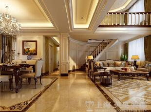 蓝堡湾230平米四室两厅欧式风格装修样板间效果图-一楼客厅走廊,230平,40万,欧式,复式,