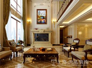 蓝堡湾230平米复式欧式风格装修案例效果图-客厅电视背景墙,230平,40万,欧式,复式,