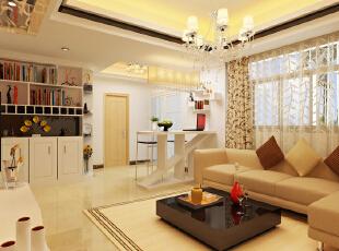 一个简单而实用的柜子与装饰性的层板,把房子的实用性提至极限~,86平,9万,现代,两居,客厅,黄色,