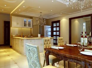 餐厅 15平米大气餐厅 设计理念:餐厅区域不是很大,利用开放式厨房豁然开朗,开放式厨房既实用又起到一定的装饰 亮点:一进大门,华丽气派的餐桌和开放式厨房便映眼帘入,典雅大方的餐桌椅让人有一个愉快的用餐环境,135平,10万,欧式,三居,
