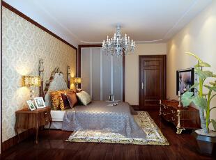 主卧 18平米温馨卧室 设计理念:主卧作为业主休息的场所,不需要过多的装饰,采用了跟客厅一样的壁纸做了简单的床头背景 亮点:卧室本身是一个舒适的休息区,主要温馨加以床头壁纸和床品的配饰更能充分体现主人卓尔不凡的审美品位和惬意舒适的生活情趣。,135平,10万,欧式,三居,