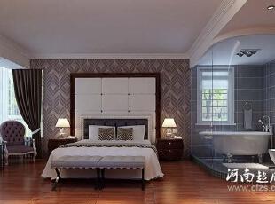 卧室在简欧风格的体现繁简凛冽,对于欧式大床的装配,无时无刻不透露着强大的舒适感,然而为让整合空间更具和谐,设计师通过更加简易的铁艺简桌,突出它的简洁凝练。,148平,13万,欧式,四居,卧室,