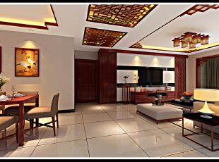 中式风格 个性非常明显 最终没有选定 成为对比案例,129平,11万,三居,客厅,中式,红色,