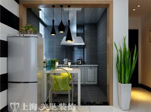 中豪汇景湾90平两室两厅现代简约装修餐厅厨房样板间布局 :餐厅为开放式,90平,5万,现代,两居,餐厅,