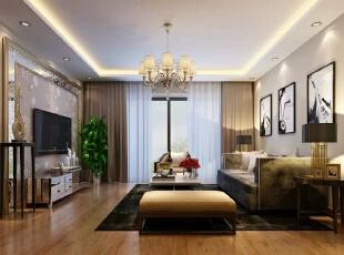 整体简约,点缀以金色线条和艺术玻璃凸显精致,彰显主人特有的个性,100平,客厅,简约,御园世家,8万,