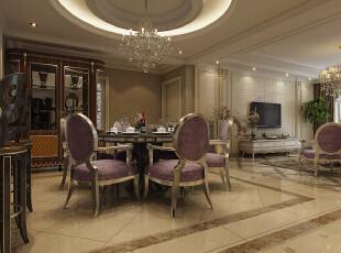 餐厅:全抛釉瓷砖、质感涂料,水晶大吊灯让我们更是感到金碧辉煌,暖金色调不仅彰显了我们的贵族气质,又增加了我们的食欲。,147平,14万,欧式,三居,