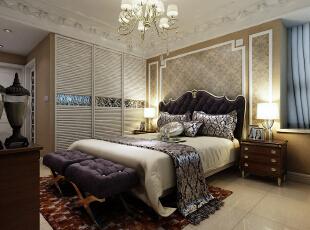 卧室:软包、护墙、经典的团花壁纸,多层次的吊顶,好似布满星辰,奢华至极。,147平,14万,欧式,三居,