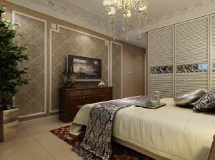 雍容华贵,这是卧室给人带来的第一感觉,紫色的软包,使得空间赋予一种尊贵典雅透着豪华的气质。,147平,14万,欧式,三居,