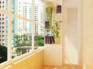 简单的白色隔断增加了阳台的区域感,140平,4万,简约,三居,