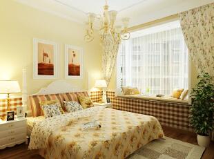 卧室,延续了温和的色调,碎花以及格纹布艺的装饰,为居室增加了田园的自然清新感,飘窗用薄纱的窗帘装饰,增加几个抱枕,简洁的布置让人倍感温馨。,140平,4万,简约,三居,