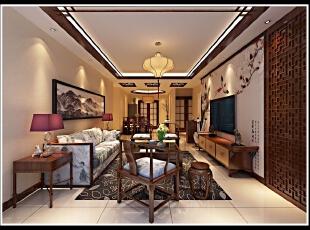 中式装修 稍微带一点现代色彩 满足现在流行趋势的需求,123平,13万,中式,两居,客厅,餐厅,红色,