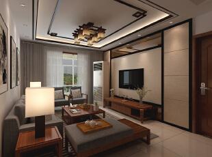金峰帝景125平--三居室--新中式装修设计效果图-太原东唐装饰设计有限公司--客厅装修效果图,125平,中式,三居,客厅,原木色,