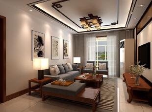 金峰帝景125平--三居室--新中式装修设计效果图-太原东唐装饰设计有限公司--客厅装修效果图,中式,三居,客厅,原木色,东唐装饰,