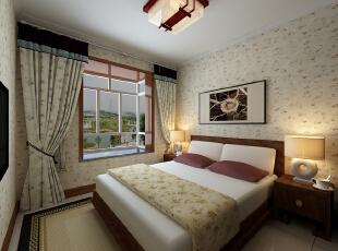 金峰帝景125平--三居室--新中式装修设计效果图-太原东唐装饰设计有限公司--卧室设计效果图,三居,卧室,壁纸,东唐装饰,卧室装修效果图,