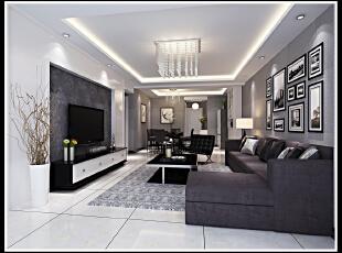 黑白灰的现代风格效果 个性非常强烈 黑白对比度非常高,两居,客厅,现代,黑白,