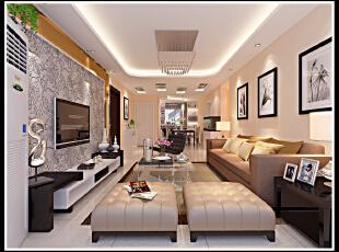 现代风格效果 家具色彩搭配的非常合理 明亮而温馨 尽显大方气息,120平,10万,现代,两居,客厅,白色,