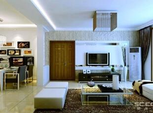 电视墙作为一个亮点与其他空间有所区分。,110平,7万,现代,三居,