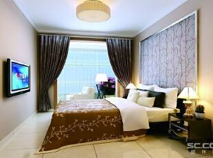 淡淡的浅色墙面使卧室走向温馨。,110平,7万,现代,三居,