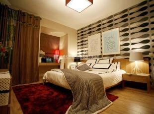 现代简约风格卧室一体化装修效果图欣赏(3)    很温馨的一款卧室的装修,整个卧室的装修十分的漂亮,空间中装饰多以白色布艺来营造浓厚温馨的气氛,地面选用红色的地毯,而整个房间里布艺窗帘的搭配给居室营造了更舒适的气息!,40平,2万,现代,三居,卧室,