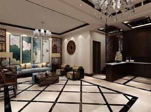 客厅:把客厅与阳台之间的推拉门去掉了,这样从视觉上显得挺会更大,以为本身厅是比较小,沙发的后面采用了深色壁纸,会显得比较大气,更有张力,电视墙那面色调以暖色调为主,细致清新。,中式,别墅,客厅,新中式风格,