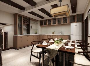 餐厅:次区域改动较大,把餐厅和阳台原有的墙面拆除了,餐厅和厨房的门洞改大,变成了开放式厨房,这也是此区域的亮点,主要功能和生活舒适度怎加了不少。,中式,阳光新干线,餐厅,
