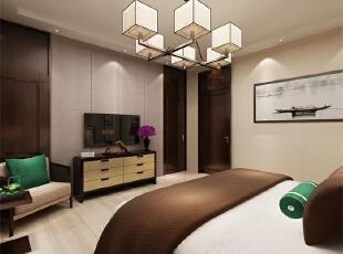 主卧室:以为主卧面积较小,所以衣柜采用木色,这样看起来不会占用太多空间 飘窗作为一小憩的地放。,中式,别墅,卧室,阳光新干线,原木色,