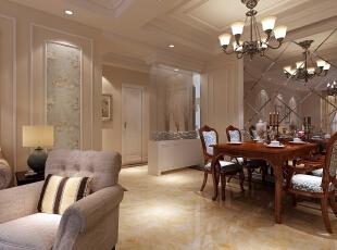 餐厅与卫生间大胆巧妙的运用了玻璃插花的设计,122平,10万,美式,三居,