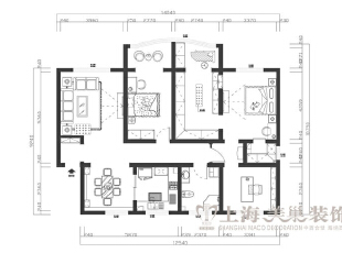 鑫隆花园170平米三室两厅装修户型图及平面布局方案,170.0平,13.0万,美式,三居,