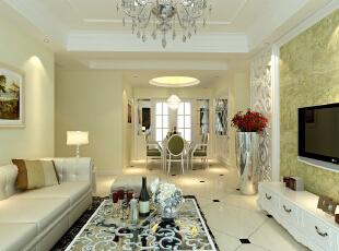 保利拉菲公馆109平方新古典客厅装修效果图,109平,8万,新古典,三居,客厅,春色,