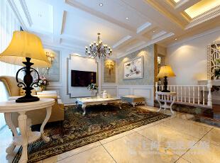 郑州联盟新城五室三厅三卫简欧风格装修——电视背景墙,330平,60万,欧式,复式,