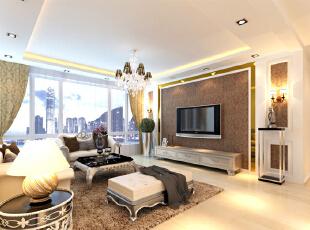 设计理念:以简约大气为主,为避免压抑只做了一层吊顶,加以灯带处理增加氛围感,电视背景墙过长,故设计此造型。 亮点:电视背景墙中加以壁纸和茶色玻璃,既显稳重又彰显主人不俗品味。配以欧式家具,更是为空间增加了灵动感。,170平,16万,欧式,四居,客厅,