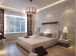 设计理念:主卧为主人安心休息之地,故没有采用过多的造型与颜色,以简约欧式为主选了一款温馨的壁纸,为主人身心放松提供方便。 亮点:居室的灯光作为很重要的一部分,出现在床头灯,吊灯及灯带上,为业主提供不一样的氛围。,170平,16万,欧式,四居,卧室,
