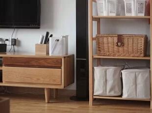 木质与竹编的结合,各类收纳盒可以很好的归置各类物品。,98平,11万,日式,三居,客厅,原木色,