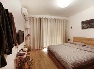 大大的双人床,可以来回的翻滚,**啊!,98平,11万,日式,三居,卧室,原木色,